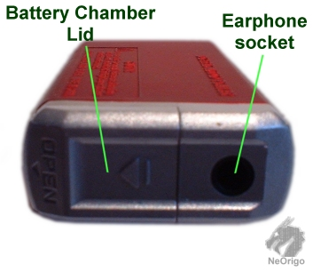 headphone socket and battery compartment
